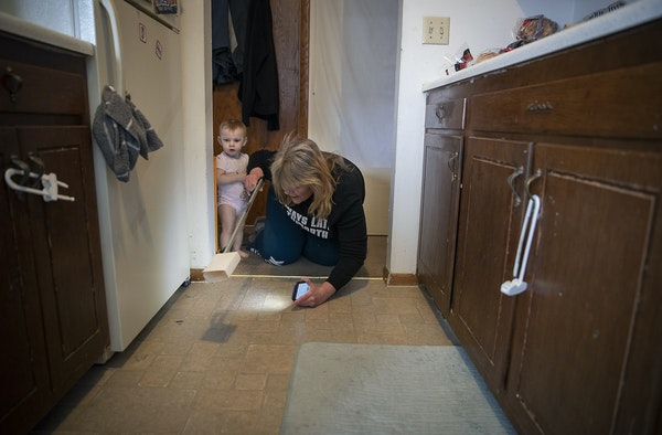 A new landlord has ordered Michelle Doran, shown trapping roaches, and other tenants of New Brighton's Pike Lake Apartments to vacate the complex.