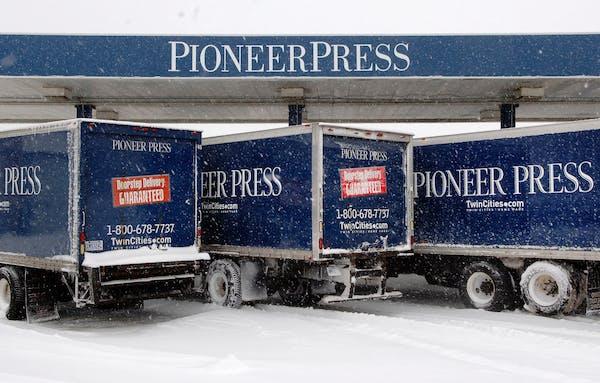 Pioneer Press distribution trucks in St. Paul.