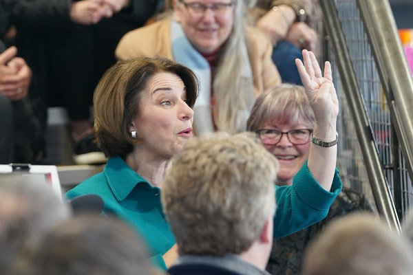 Amy Klobuchar spoke at a Get Out the Caucus event at Crawford Brew Works in Bettendorf, Iowa, the first of four events around the state.