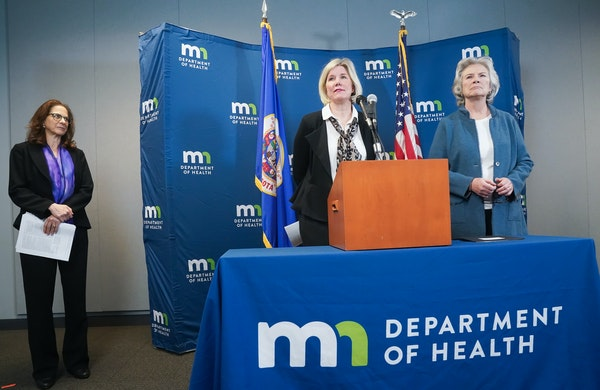 Minnesota Health Commissioner Jan Malcolm, right, along with State Epidemiologist Dr. Ruth Lynfield and Infectious Disease Director Kris Ehresmann hel