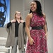"""Lynnette R. Freeman, who plays a rising artist, in a scene with Michelle O'Neill, as a wealthy collector, rehearsed for Thursday's opening of """"T"""