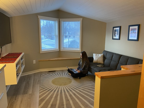 """Penny Berens makes use of the new """"craft room"""" that sits atop her family's home in Shakopee."""