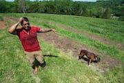 Luis Hummel at his hemp farm, 5th Sun Gardens near Lanesboro.