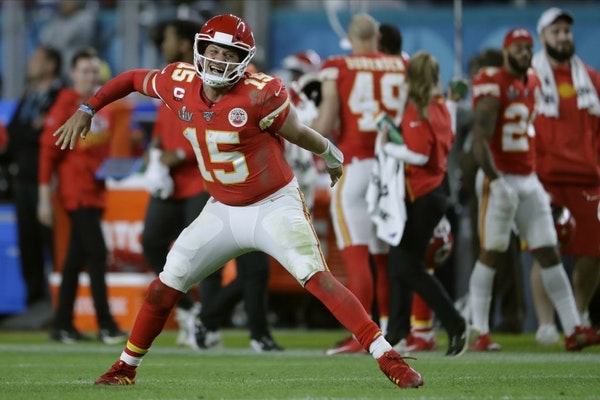 Kansas City Chiefs' quarterback Patrick Mahomes celebrates his touchdown pass to Damien Williams in the the second half of the NFL Super Bowl 54 footb