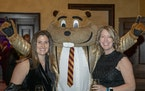 Maleah Gilles and Heather Murray with Goldy Gopher.