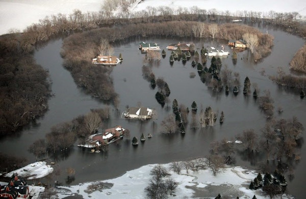 Red River flooding in 2009. Last year was Minnesota's wettest year on record, leaving the ground saturated and rivers high even before the spring th