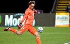 """Minnesota United coach Adrian Heath says new goalkeeper Tyler Miller is """"better than I thought."""" Miller made his Loons debut in Sunday's season"""