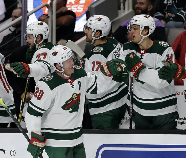 Wild defenseman Ryan Suter had plenty to smile about on Thursday night after he opened the scoring against the Sharks with his eighth goal of the seas