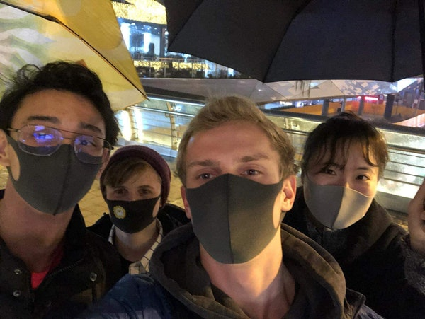 Edina native Lindsay Rubin, 20, (center back) and classmates from Purdue University have worn masks when in public during their study abroad in China