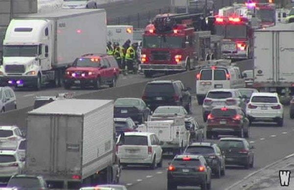 This crash occurred about 1:15 p.m. Monday on eastbound Interstate 494 near the France Avenue exit, according to the State Patrol. Credit: MnDOT traff