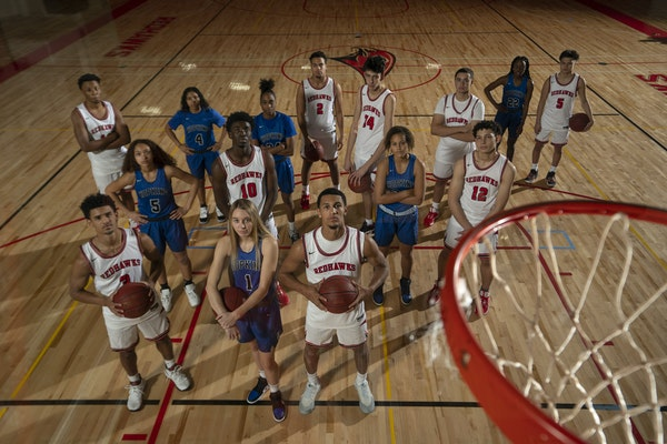 With Hopkins Paige Bueckers and Minnehaha Academy's Jalen Suggs, front and center and both wearing No. 1, other Division I-bound players on the two