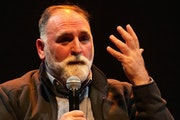 Chef José Andrés offered his passionate perspective on hunger relief to a crowd at the State Theatre in Minneapolis.
