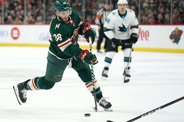 Wild right wing Ryan Hartman took a shot on goal in the first period Saturday vs. the Sharks.