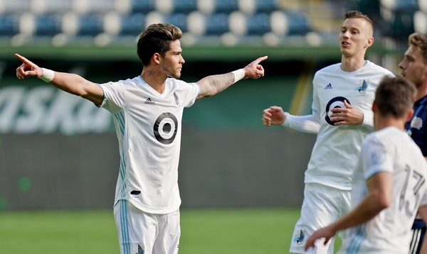 Minnesota United forward Luis Amarilla, reacting after scoring a goal in a preseason match against the New England Revolution, declared he'll score