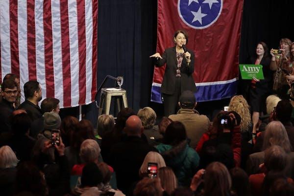 Democratic presidential candidate Sen. Amy Klobuchar, D-Minn., campaigns Friday, Feb. 28, 2020, in Nashville, Tenn.