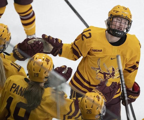 Grace Zumwinkle, above celebrating a goal in the 2019 WCHA Final Faceoff title game against Wisconsin, led the Gophers with 25 goals last season. Seve