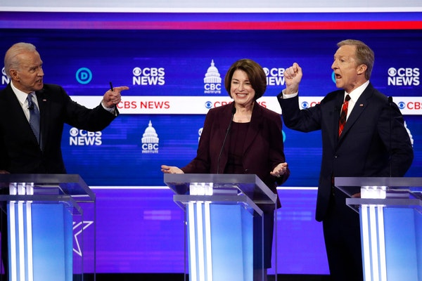 Amy Klobuchar, center, has showed no signs of dropping out as the Democratic presidential race focused on South Carolina.
