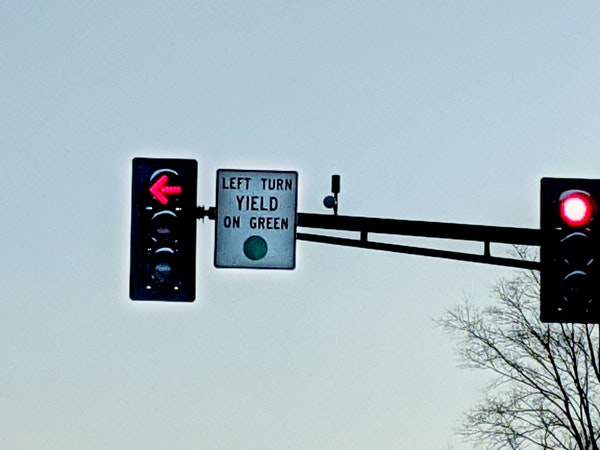 A misplaced sign on Hwy. 8 in Chisago City had drivers asking if they can make a left turn if they have a red arrow but see a green light for through