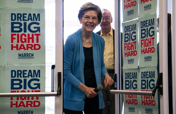 Sen. Elizabeth Warren arrives to speak to supporters at a canvassing event on the morning of the South Carolina Democratic Primary, in Columbia, S.C.,