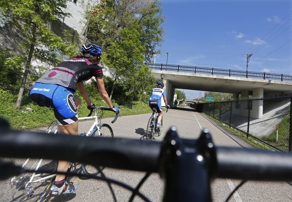 On the Midtown Greenway, bikers took advantage of the break in the weather.