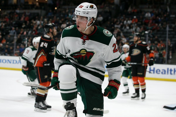 Wild left winger Kevin Fiala reacted after scoring against the Anaheim Ducks during the first period Sunday. He finished the scoring as well, with his