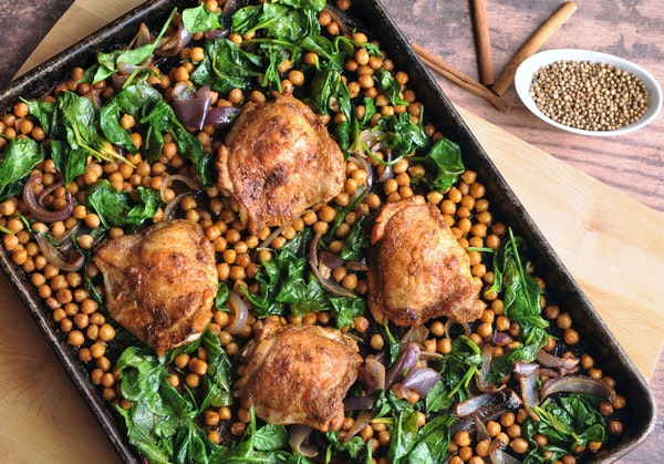 Moroccan-Spiced Chicken and Chickpea Sheet-Pan Dinner