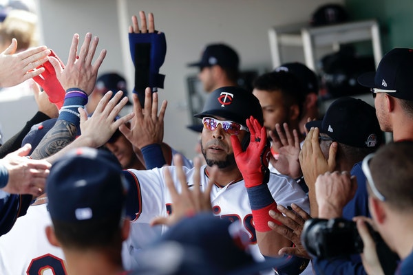 Twins designated hitter Nelson Cruz celebrates in the dugout after hitting a two-run home run on Monday in Florida. He went yard again on Wednesday.