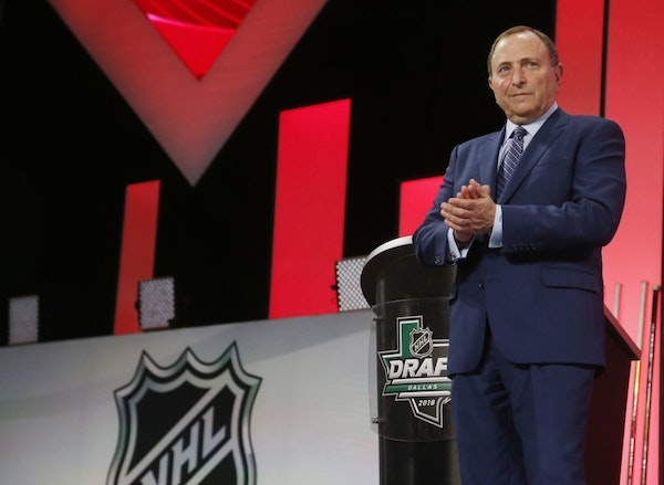 NHL Commissioner Gary Bettman looks on during the NHL hockey draft in Dallas, Friday, June 22, 2018.