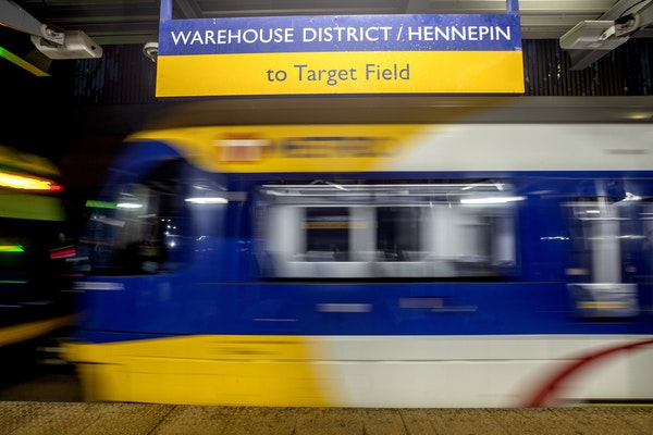 A Metro Transit light-rail train pulled into the Warehouse District / Hennepin stop in downtown Minneapolis.