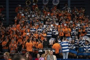 The combined Hopkins and Farmington bands played several tunes together at the end of the Hopkins vs. Stillwater game.