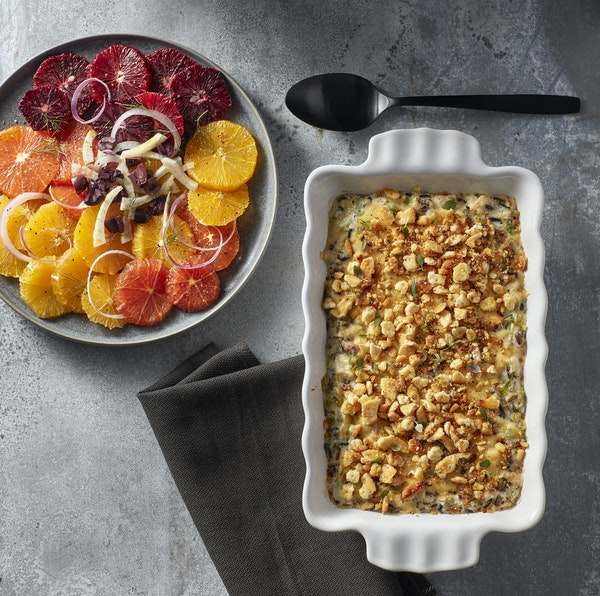 Recipes: Chicken and Wild Rice Hot Dish; Orange Salad With Black Olives, Fennel and Red Onion; and Coffee Blondies