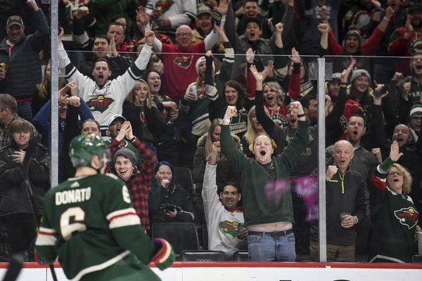 Fans celebrated a second period goal by Minnesota Wild center Ryan Donato (6) during a game last month.
