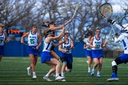 The Blake girls' lacrosse team played Minnehaha Academy in a game at Blake's south campus in Hopkins on April 18, 2019.