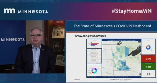 Minnesota Gov. Tim Walz spoke Friday to the state about the new online dashboard and the info there.
