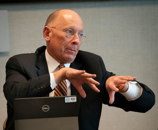 Minnesota Correction Commissioner Paul Schnell, shown at a March briefing about coronavirus preparations.