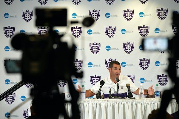 St. Thomas football coach Glenn Caruso addressed the media last August.