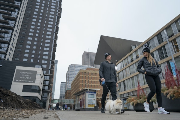 Wild scoring leader Kevin Fiala and his girlfriend, Jessica Ljung, walked his dog, Foxi, along Nicollet Mall on Wednesday.