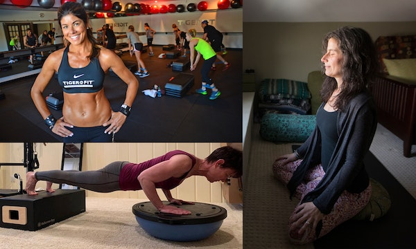 Stacie Clark (top left, co-owner of TigerFit with her husband, Chris) and every other fitness leader in Minnesota has had to leave their gyms behind a