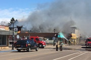 The Crooked Spoon, a popular tourist eatery, was engulfed in flames just after 1 p.m. and the fire spread to neighboring businesses on Monday, April 1