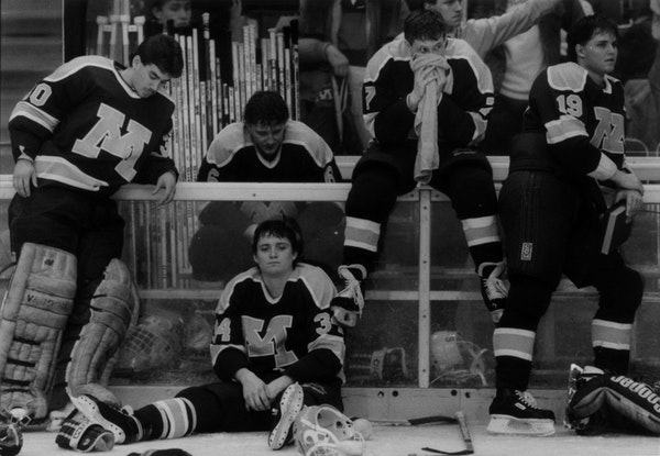 The Gophers looked stunned after a 4-3 overtime loss to Harvard in the 1989 NCAA title game at St. Paul Civic Center.