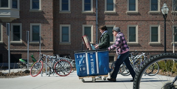 Students and their families were seen moving out of campus housing at the University of Minnesota on Tuesday, March 17, 2020. On campus classes moved