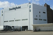 Smithfield said it will close its giant pork processing plant in Sioux Falls, S.D., shown in a photo taken Wednesday, where health officials reported