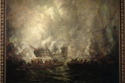 The Battle of Trafalgar was painted around 1900 by Scottish artist James Kay. It was donated to the University of Minnesota in 1996 by businessman Rod