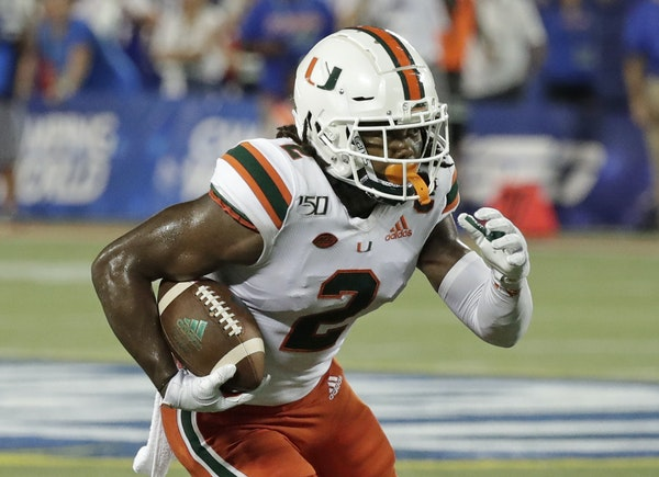 K.J. Osborn had a modest senior season as a receiver at Miami but really shined in punt returns, averaging 15.9 yards.