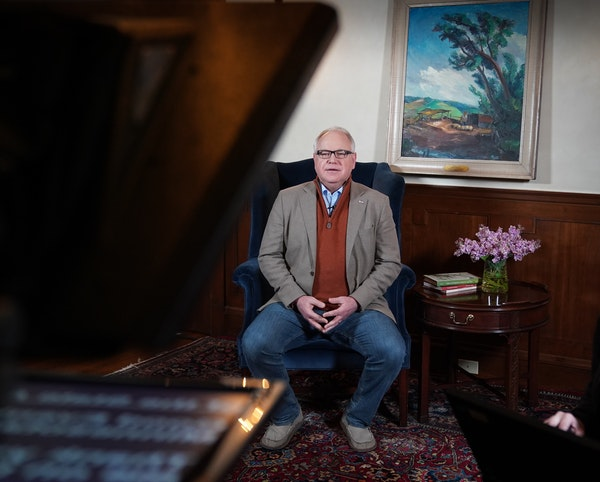 Minnesota Gov. Tim Walz delivered his delayed State of the State address over YouTube from his residence on Sunday.