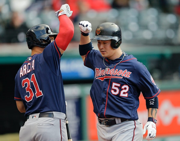 Byung Ho Park celebrated a home run during the 2016 Twins season.