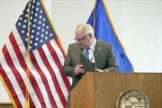 Minnesota Gov. Tim Walz, shown finishing a press conference on coronavirus last week, and other top political leaders are confronting fundamental ethi