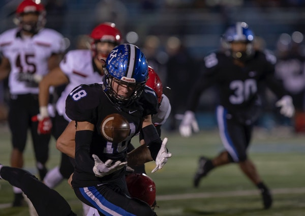 """Minnetonka's Luke Tollefson playing safety in 2018. Of his winless 2019, he said: """"Losing every week is tough. You could see it on the faces of the gu"""