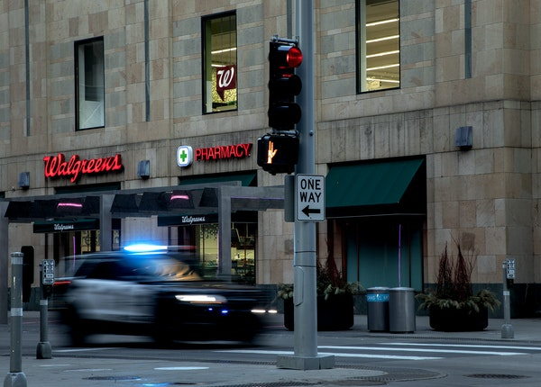 A police vehicle on Nicollet Mall in downtown Minneapolis in March.