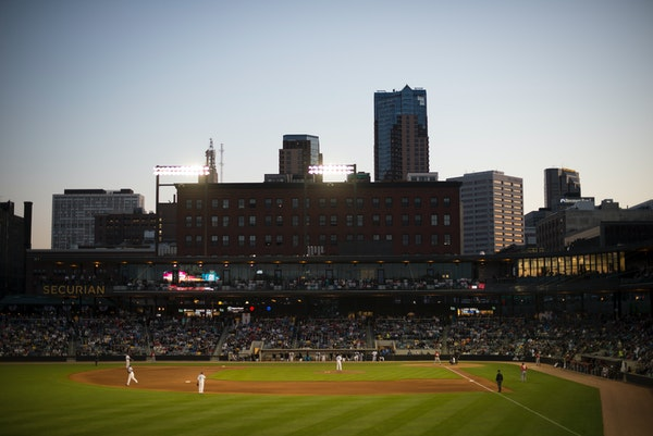 The St. Paul skyline is visible from beyond CHS Field